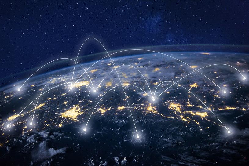 Global network around Earth highlighting telecommunication