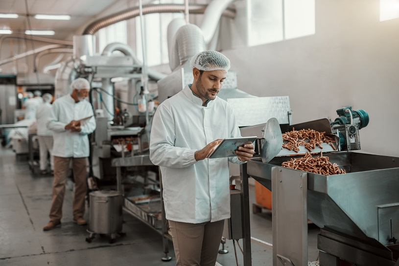 Man checking food quality in processing plant