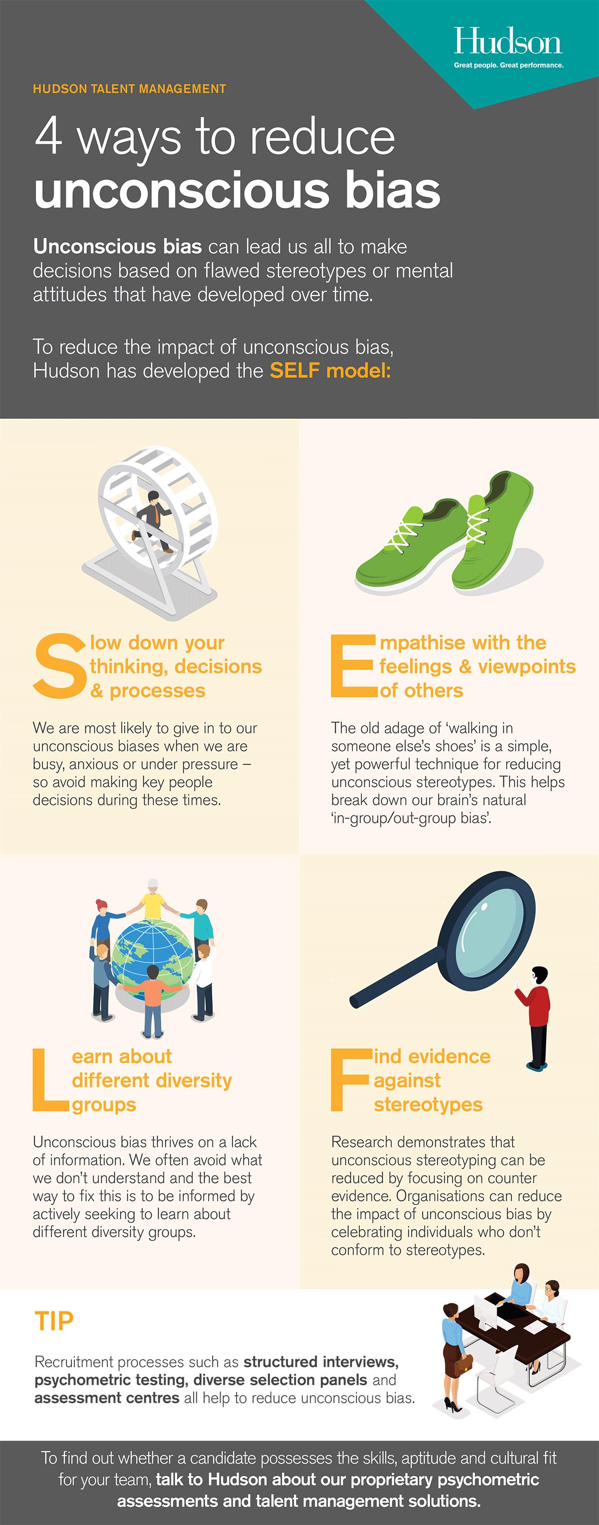 4 ways to reduce unconscious bias infographic